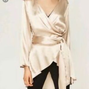 Zara Champagne Silk Wrap Top Blouse Ruffle